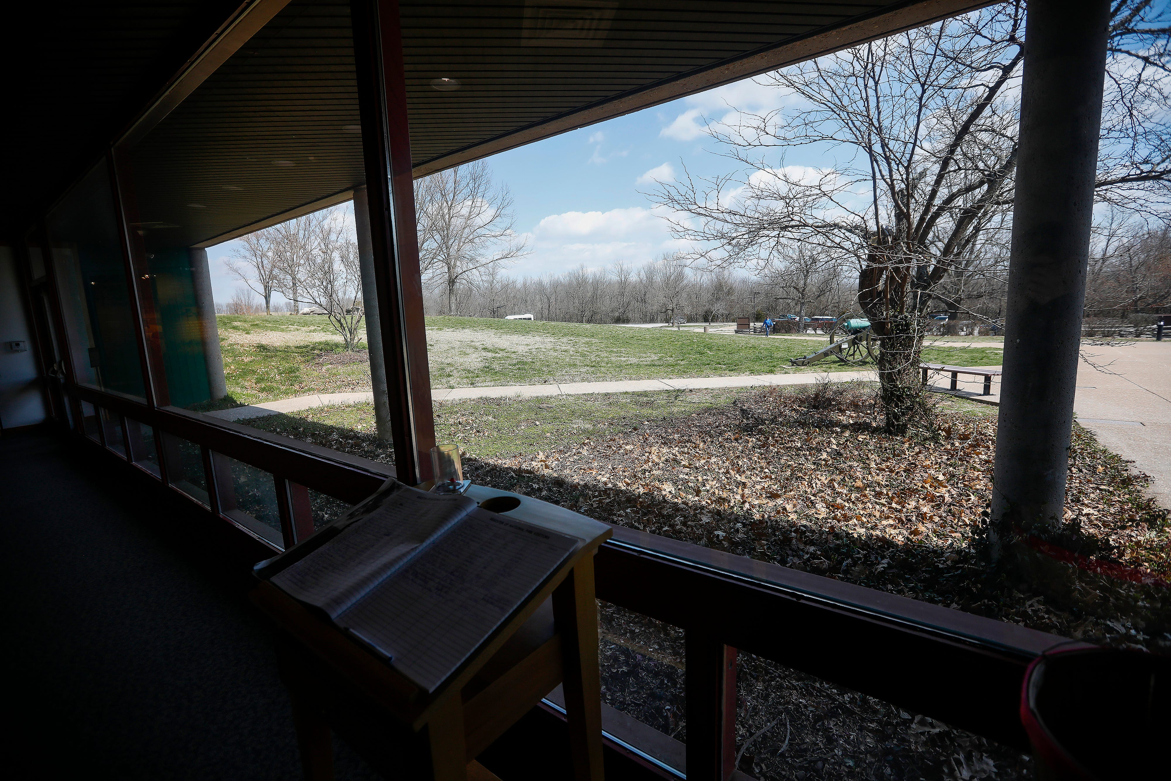 The wall at this section of the visitors center at Wilson's Creek National Battlefield will be pushed out to where the outside columns are located during renovations.