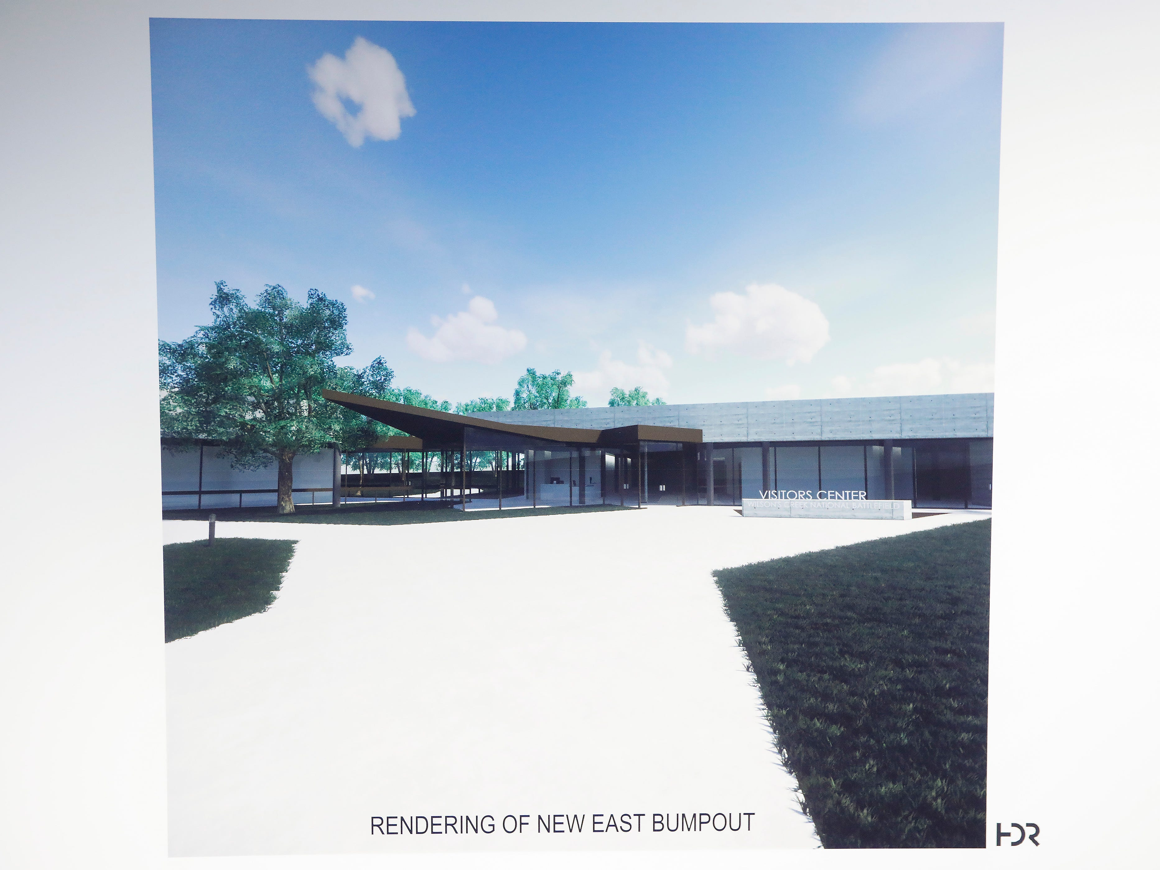 A rendering of what the exterior of the visitors center at Wilson's Creek National Battlefield will look like after renovations are made.