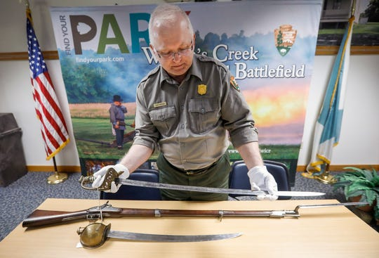 Jeff Patrick, the curator at Wilson's Creek National Battlefield, talks about the sword that belonged to Civil War Captain J.F. Sanford. The sword is one of the artifacts that will be on display after renovations to the visitors center are completed.