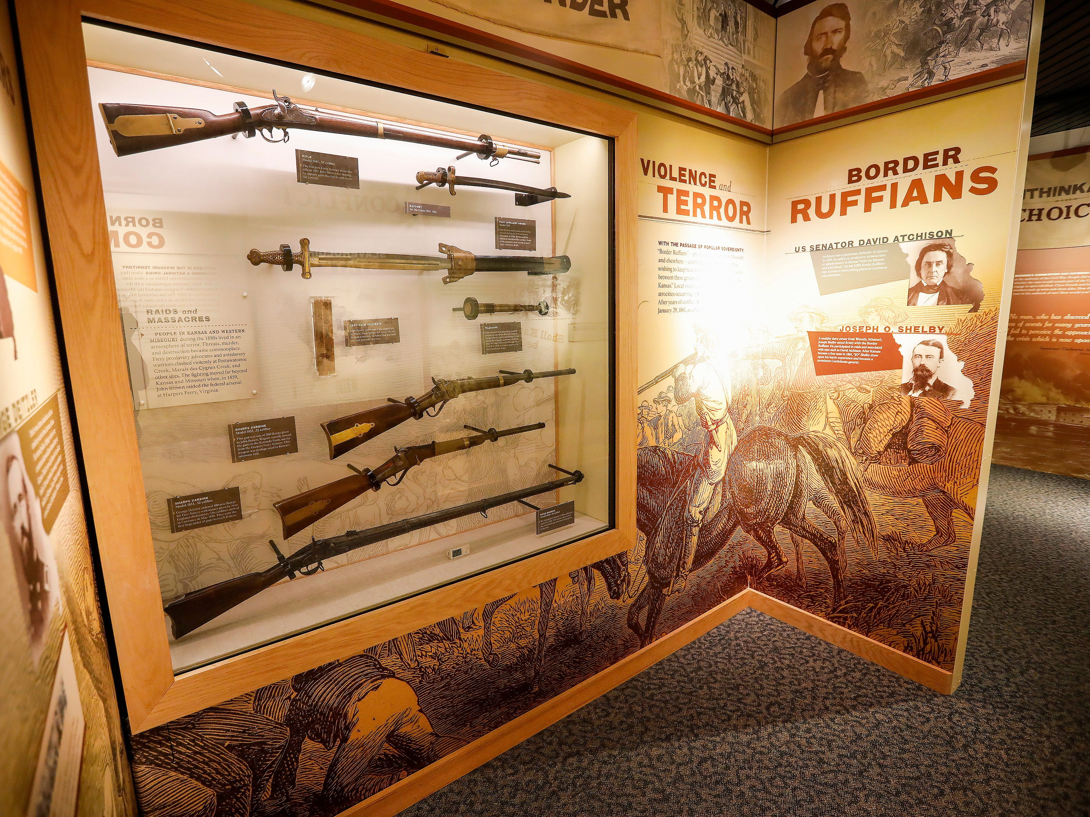 A display of Civil War artifacts on display inside the visitors center at Wilson's Creek National Battlefield.