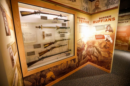 A display of Civil War artifacts on display inside the visitor center at Wilson's Creek National Battlefield.