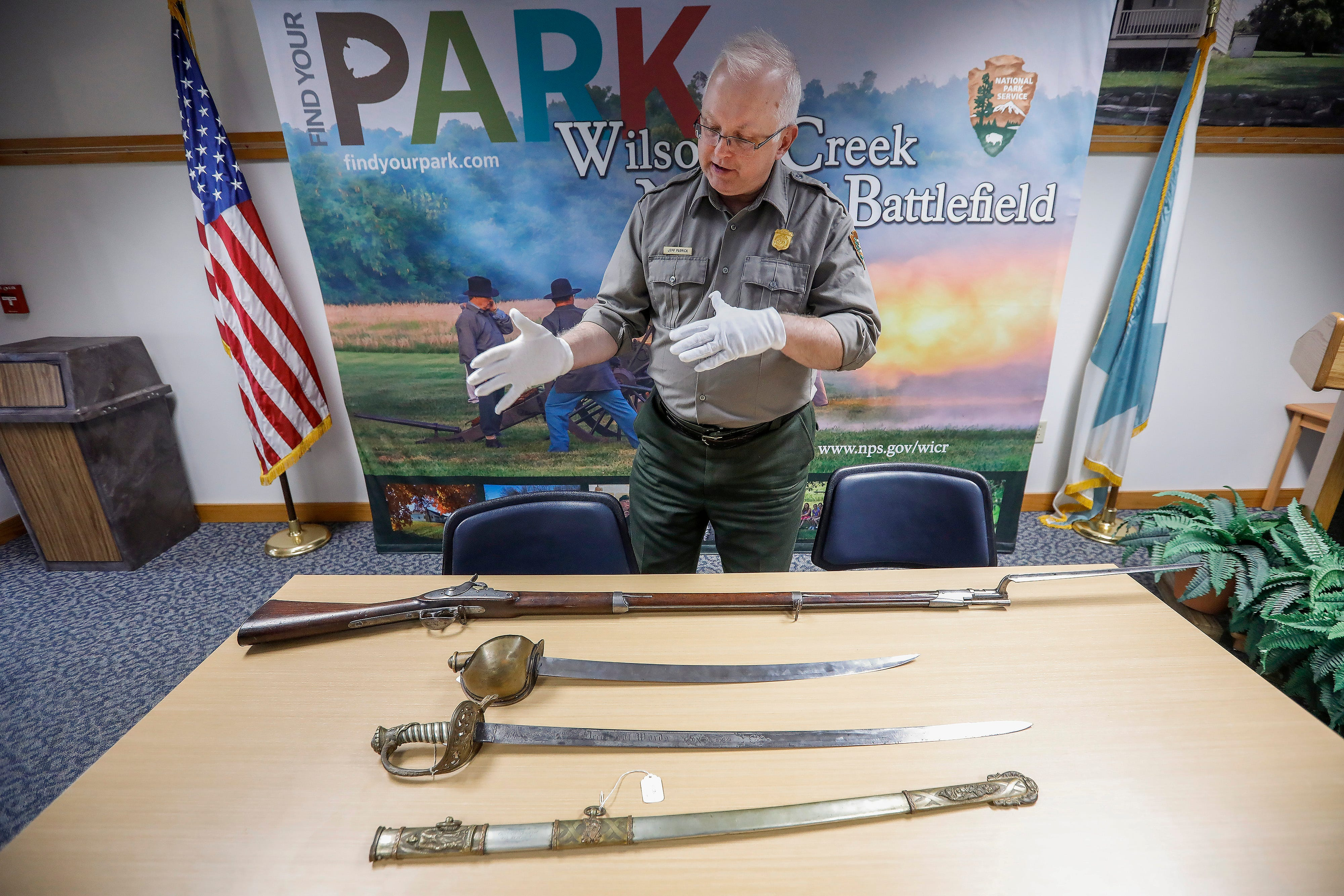 Jeff Patrick, the curator at Wilson's Creek National Battlefield, talks about some of the artifacts that will be on display after renovations to the visitors center are completed.