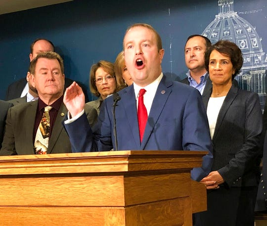 State Rep. Nick Zerwas and other Minnesota House Republicans announce a proposal at the state Capitol on Monday, March 25, 2019. Zerwas announced he is resigning from the Minnesota Legislature effective Dec. 6.