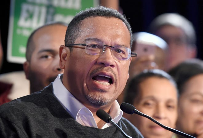 FILE - In this Nov. 6, 2018, file photo, Minnesota Attorney General-elect Keith Ellison speaks during the election night event in St. Paul, Minn. (AP Photo/Hannah Foslien, File)