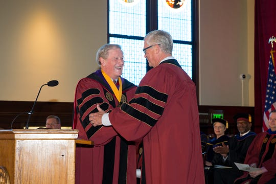 Florida State President John Thrasher, left, with former Florida House Speaker and FSU trustee board chairman Allan Bense at Monday's ceremony.