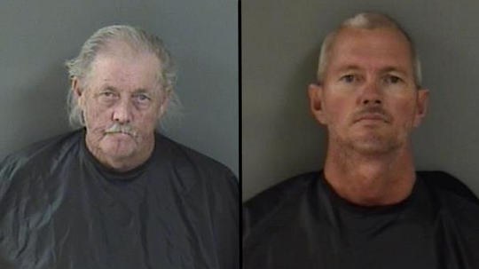 Phillip McCord. 64 (left) and Kevin Harwood, 46, of Vero Beach, were arrested after deputies said they endangered a birthday party with stray bullets while target shooting.
