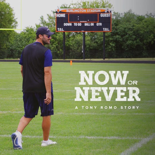 "The promo image for the upcoming documentary, ""Now or Never: A Tony Romo Story."""