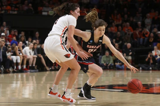 Gonzaga's Katie Campbell, an Oaks Christian School graduate, dribbles around Oregon State's Aleah Goodman during a second-round game of the NCAA Women's Tournament in Corvallis, Ore., on Monday.