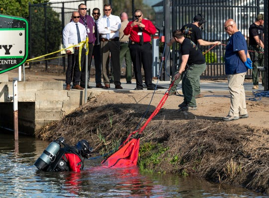Tulare County Sheriff Department investigates a body found in the canal along Avenue 416 just a1/2-mile west of Sultana on Monday, March 25, 2019. The victim is a Hispanic male thought to be in his 60's.