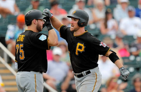 Pittsburgh Pirates Patrick Kivlehan is greeted celebrates with Will Craig (72) after his solo homer in the fifth inning of their spring training baseball game against the Minnesota Twins in Fort Myers, Fla., Tuesday, Feb. 26, 2019.
