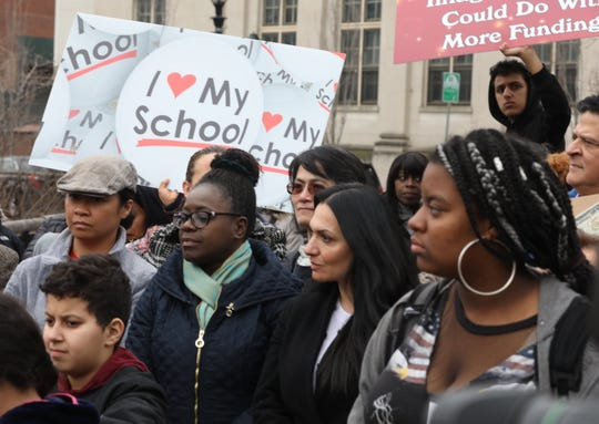 Parents, teachers, and students attend a rally where they demand New York State to fund Yonkers Schools fairly in Yonkers March 25, 2019.