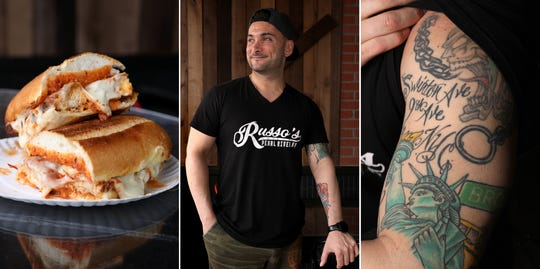 Chef Michael Russo, owner of Russo's in Pearl River, between his chicken Parmesan with vodka sauce and a sleeve tattoo dedicated to his parents' New York City roots.