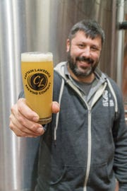 Scott Vaccaro of Captain Lawrence brewery with a Soft Swerve Orange Crème Milkshake IPA.
