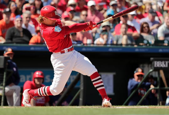 St. Louis Cardinals' Harrison Bader (48) bats in the second inning during an exhibition spring training baseball game against the Houston Astros on Saturday, March 9, 2019, in Jupiter, Fla.