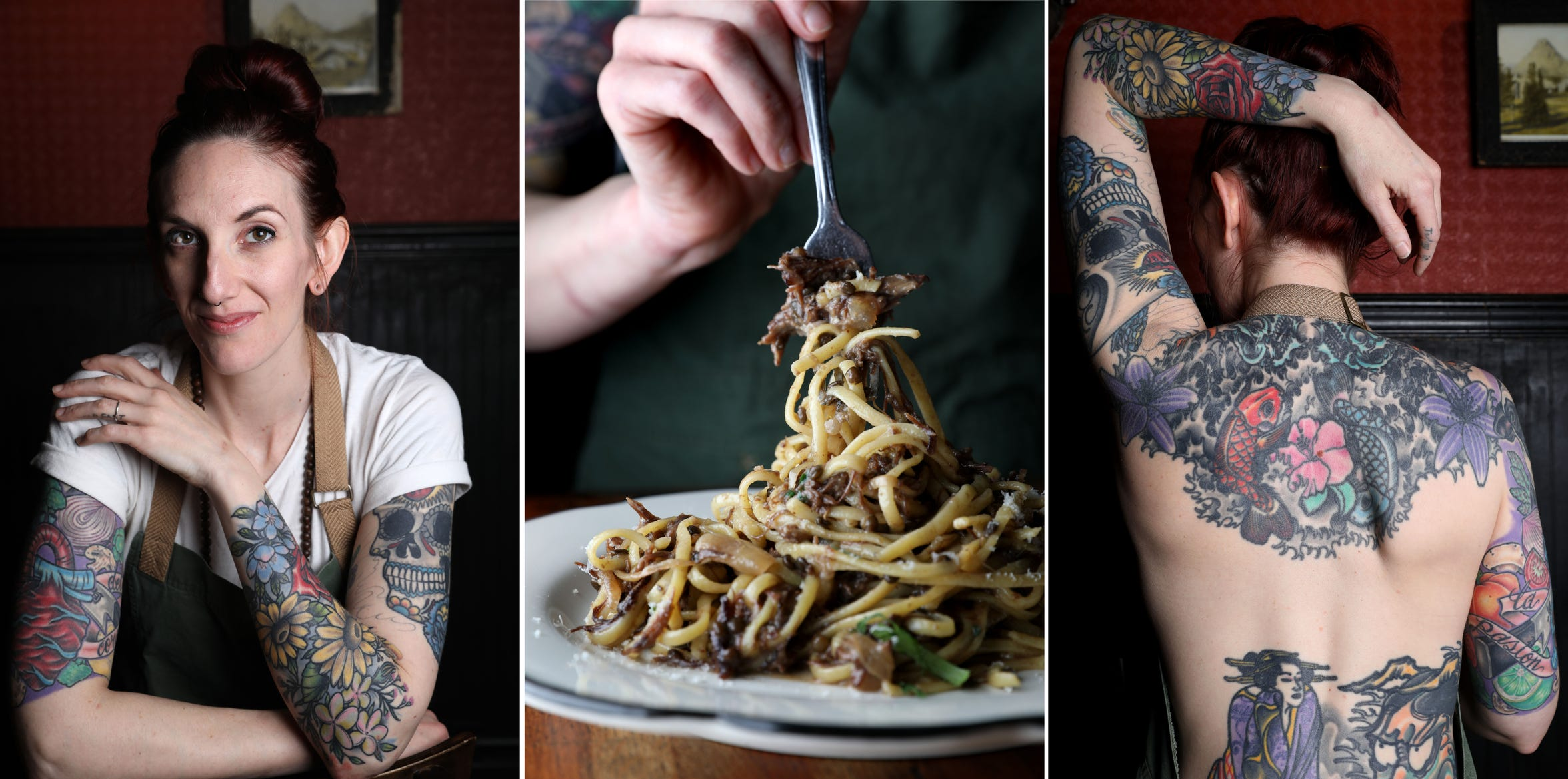 Chef Sajin Renae Perino, the chef de cuisine at The Cookery in Dobbs Ferry  beside her spaghetti with oxtail and her arm and back tattoos, including her first tattoo of two fish, a nod to her and her mother's Pisces zodiac sign.