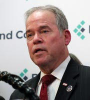 Rockland County Executive Ed Day announces a state of emergency barring unvaccinated minors from public spaces at his office in New City March 26, 2019.
