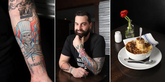 Chef Matthew Safarowic, operator of The Whitlock in Katonah, between his skeleton chef with knives and fire flames tattoo and French onion soup with marrow bone.