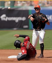 San Francisco Giants second baseman Joe Panik throws to first after forcing out Arizona Diamondbacks' Eduardo Escobar at second base during the third inning of a spring training baseball game Saturday, March 23, 2019, in Scottsdale, Ariz. Wilmer Flores was out at first on the double play.