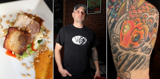 Chef Anthony DeVanzo, owner of Velo Bistro Wine Bar in Nyack, between his pork belly with Thai garlic sauce dish and a sleeve tattoo of a Japanese koi.