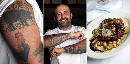 Chef George Kringas, owner of The Souvlaki Truck in Yonkers and Niko's Greek Taverna in White Plains, between pig and rooster tattoos and his grilled octopus dish.