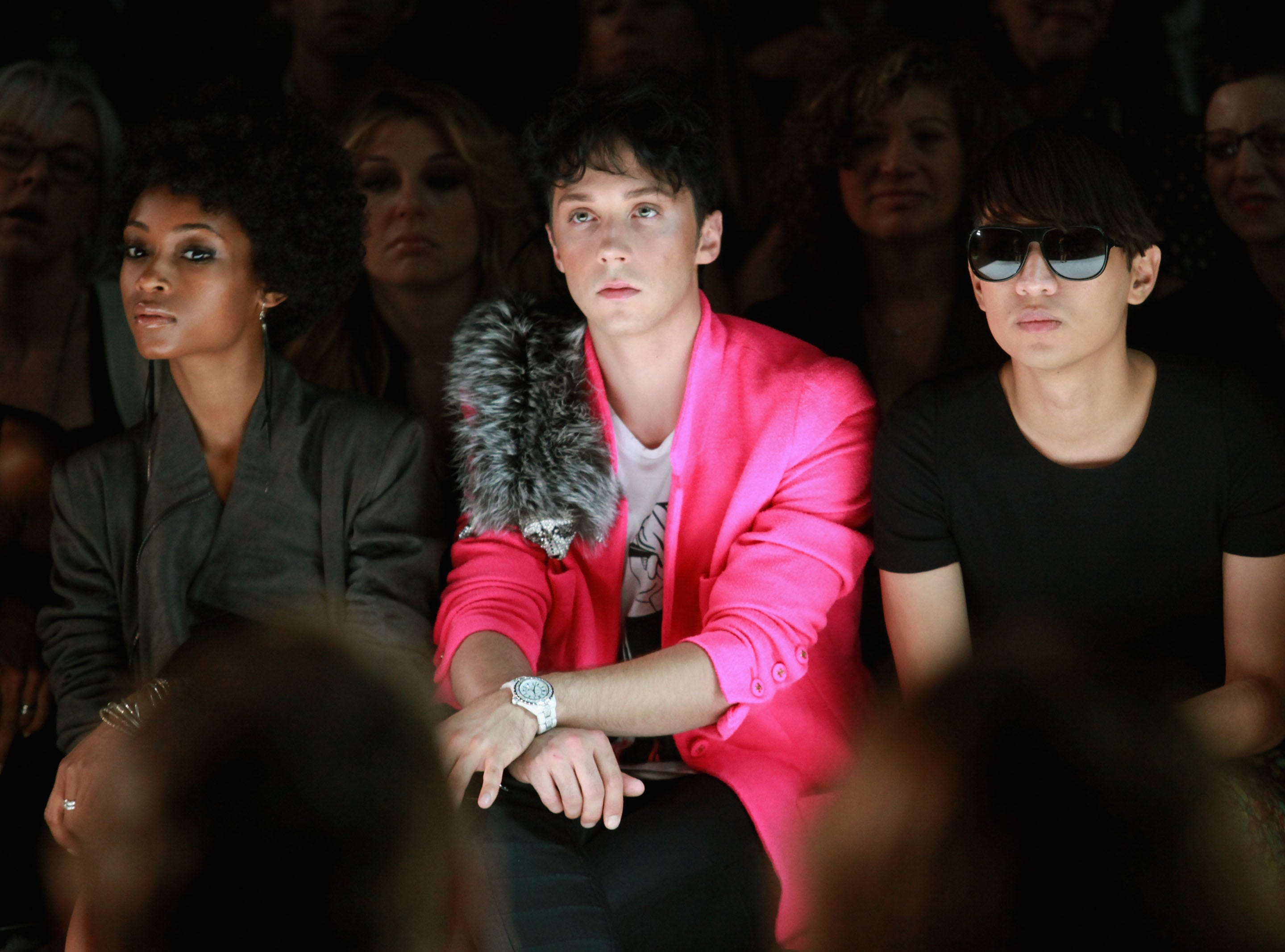 Actress Yaya DaCosta, figure skater Johnny Weir and blogger Bryan Boy attend the Isaac Mizrahi Spring 2011 fashion show during Mercedes-Benz Fashion Week at The Theater at Lincoln Center on September 16, 2010 in New York City.