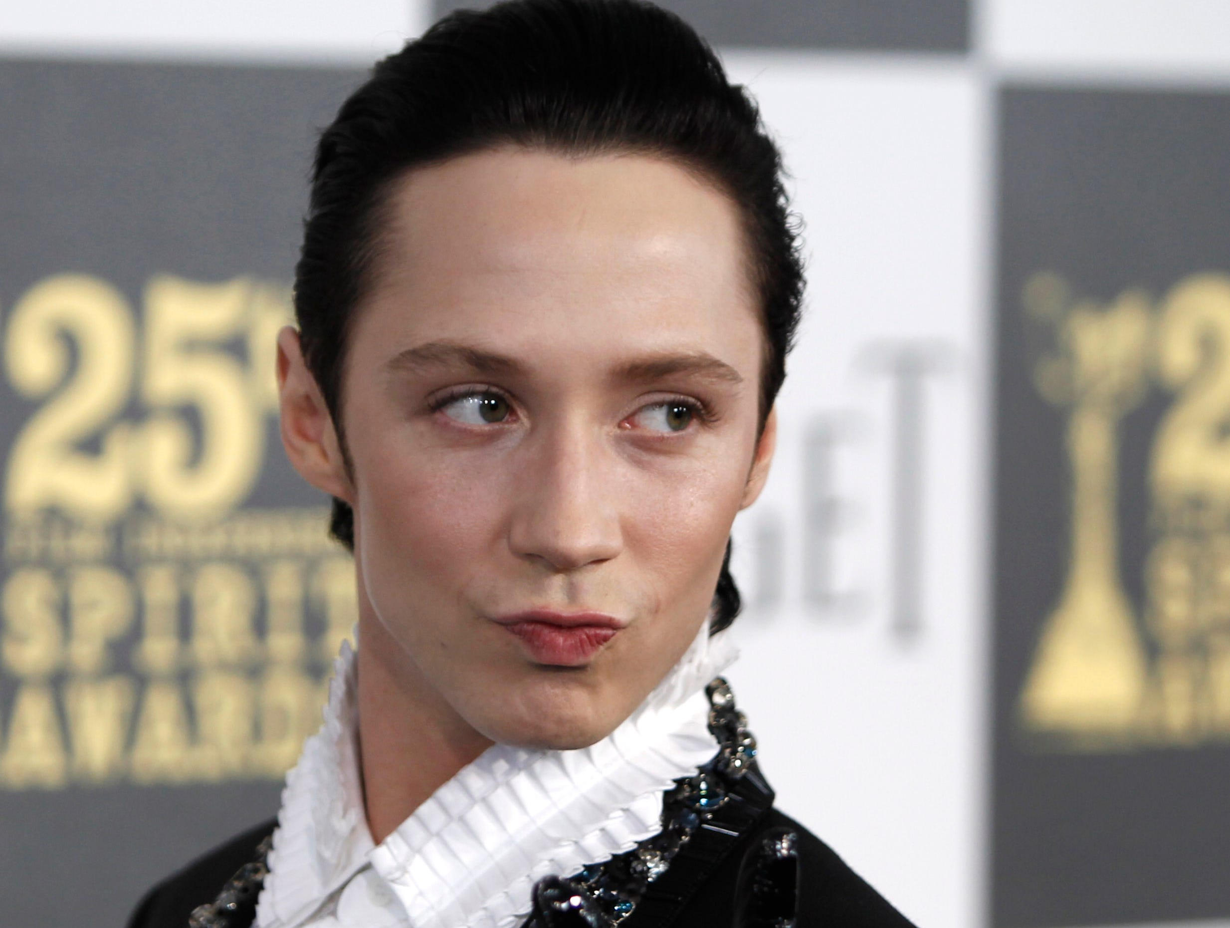 In this March 5, 2010 photo, figure skater Johnny Weir arrives at the Independent Spirit Awards in Los Angeles.
