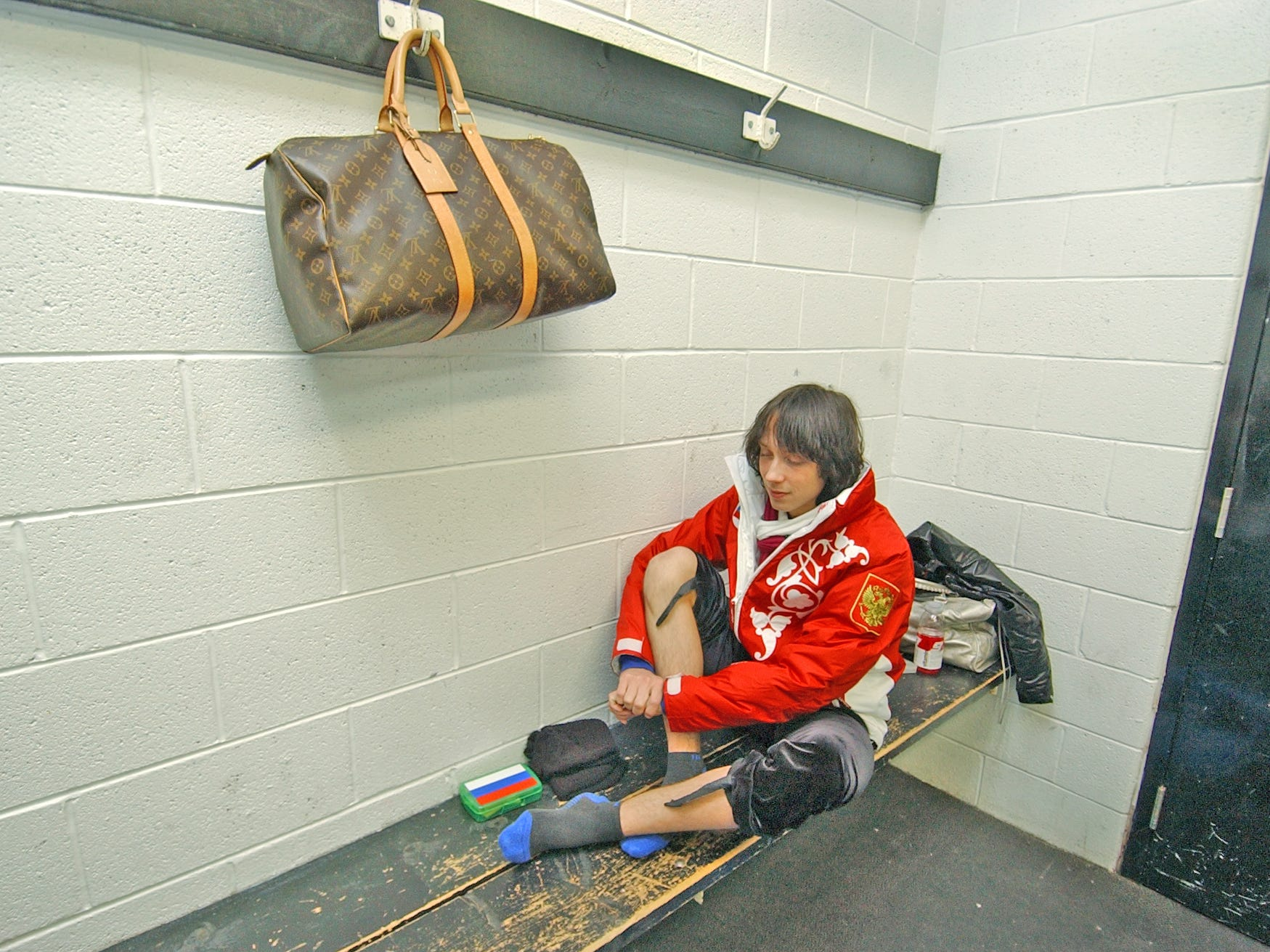 Skater Johnny Weir before a workout in Newark in 2007.