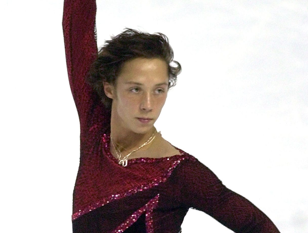 Johnny Weir strikes a pose during a warm up session at the U.S. Figure Skating Championships in Portland, Oregon, Thursday, Jan. 13, 2005.