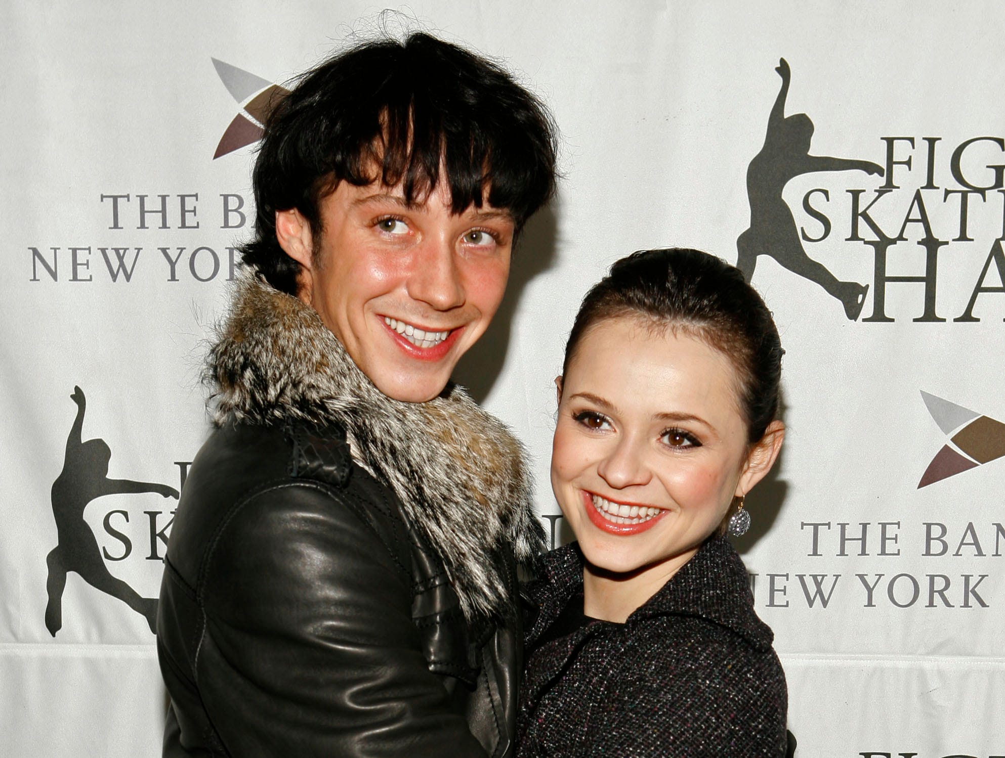 Figure skaters Johnny Weir and Sasha Cohen arrive for a gala benefiting figure skating In Harlem at Central Park's Wollman Rink Monday, March 31, 2008 in New York.