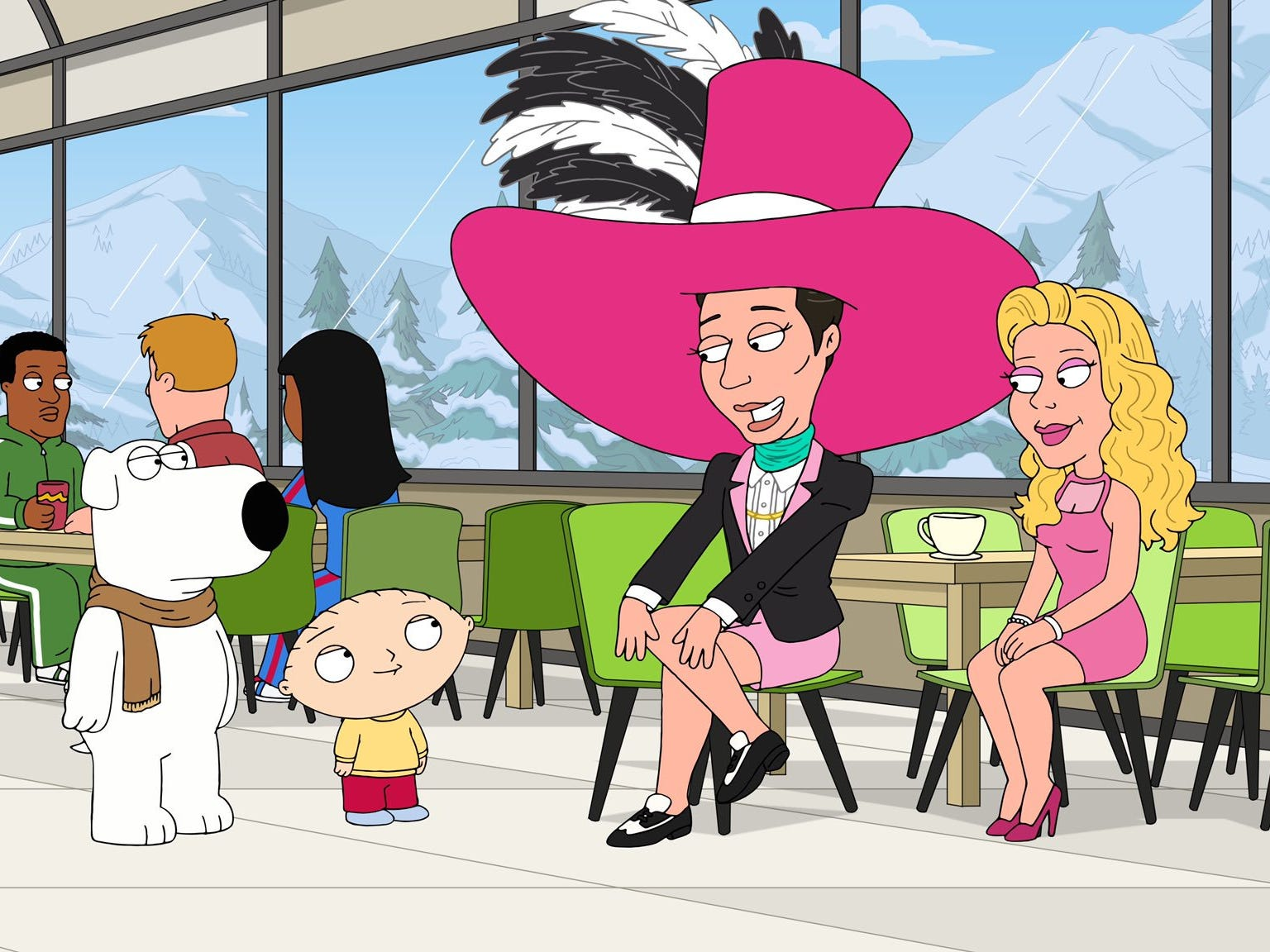 "Johnny Weir (second from right) appeared as himself on an episode of ""Family Guy"" in November 2018."