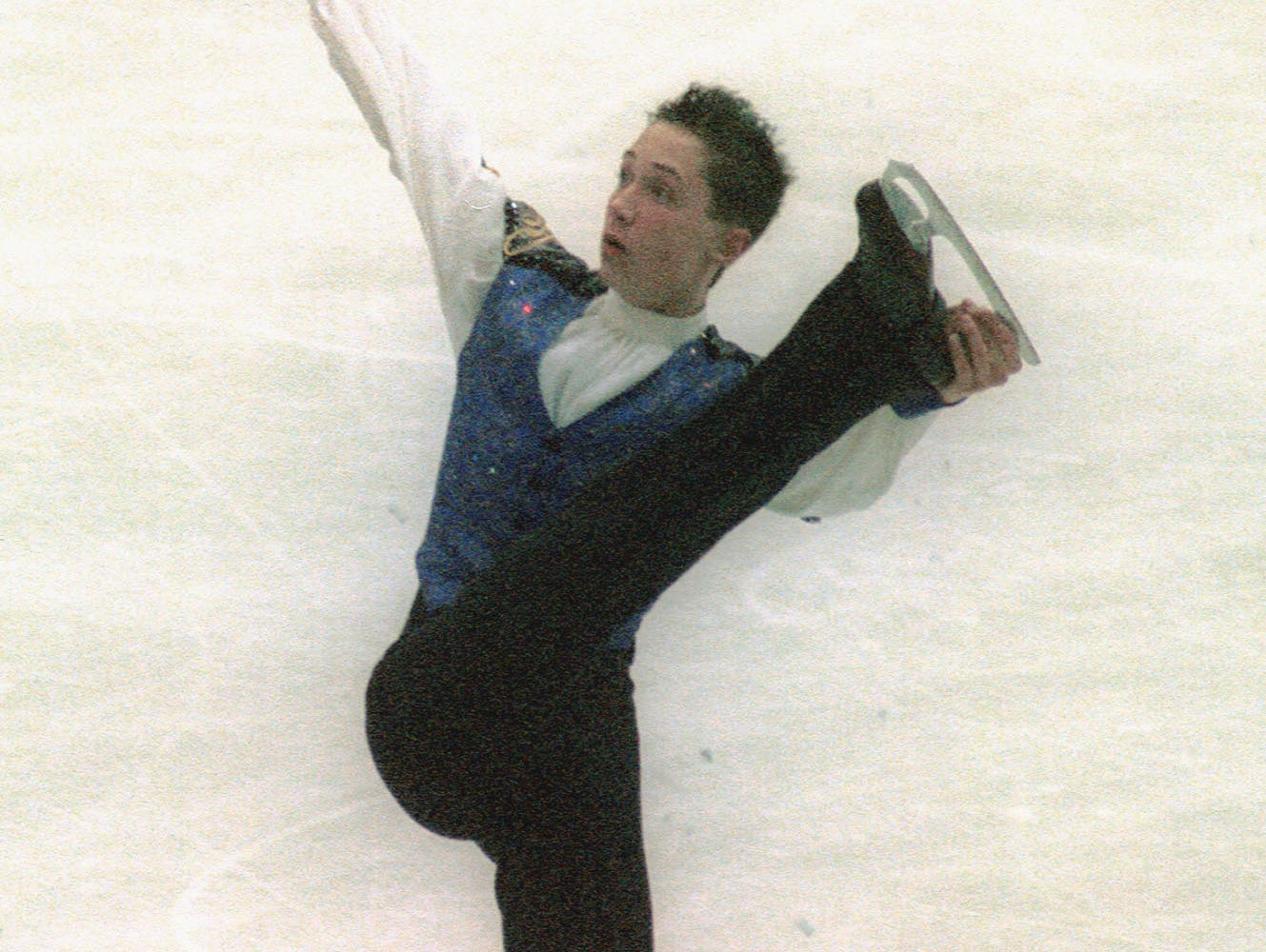 Johnny Weir performs in the men's singles skating event at the World Junior Figure Skating Championships in Sofia, Bulgaria, Thursday, March 1, 2001. Weir won the gold medal.