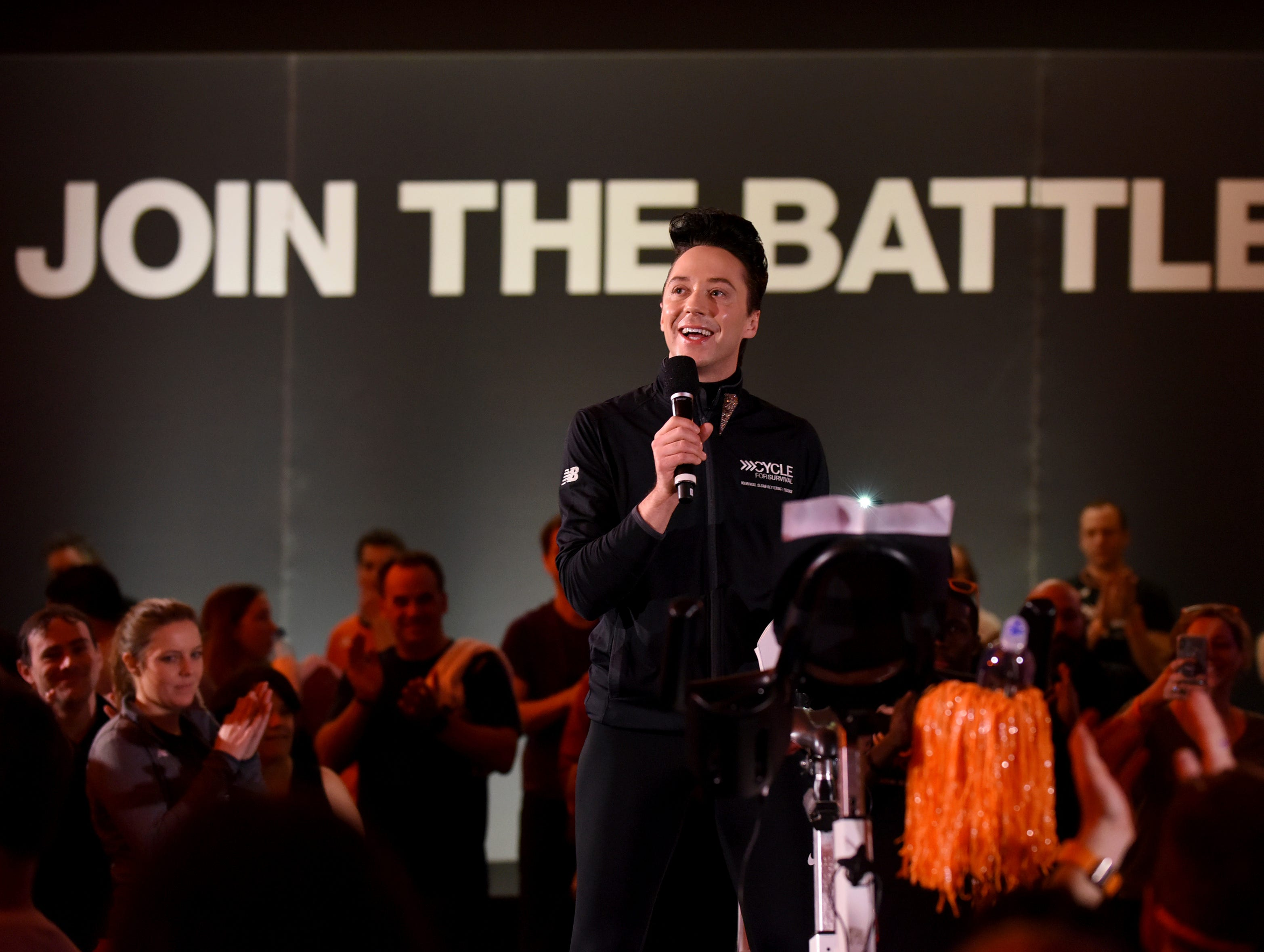 Johnny Weir shows his support for the movement to beat rare cancers at a Cycle for Survival event in New York City on Sunday, March 10, 2019.