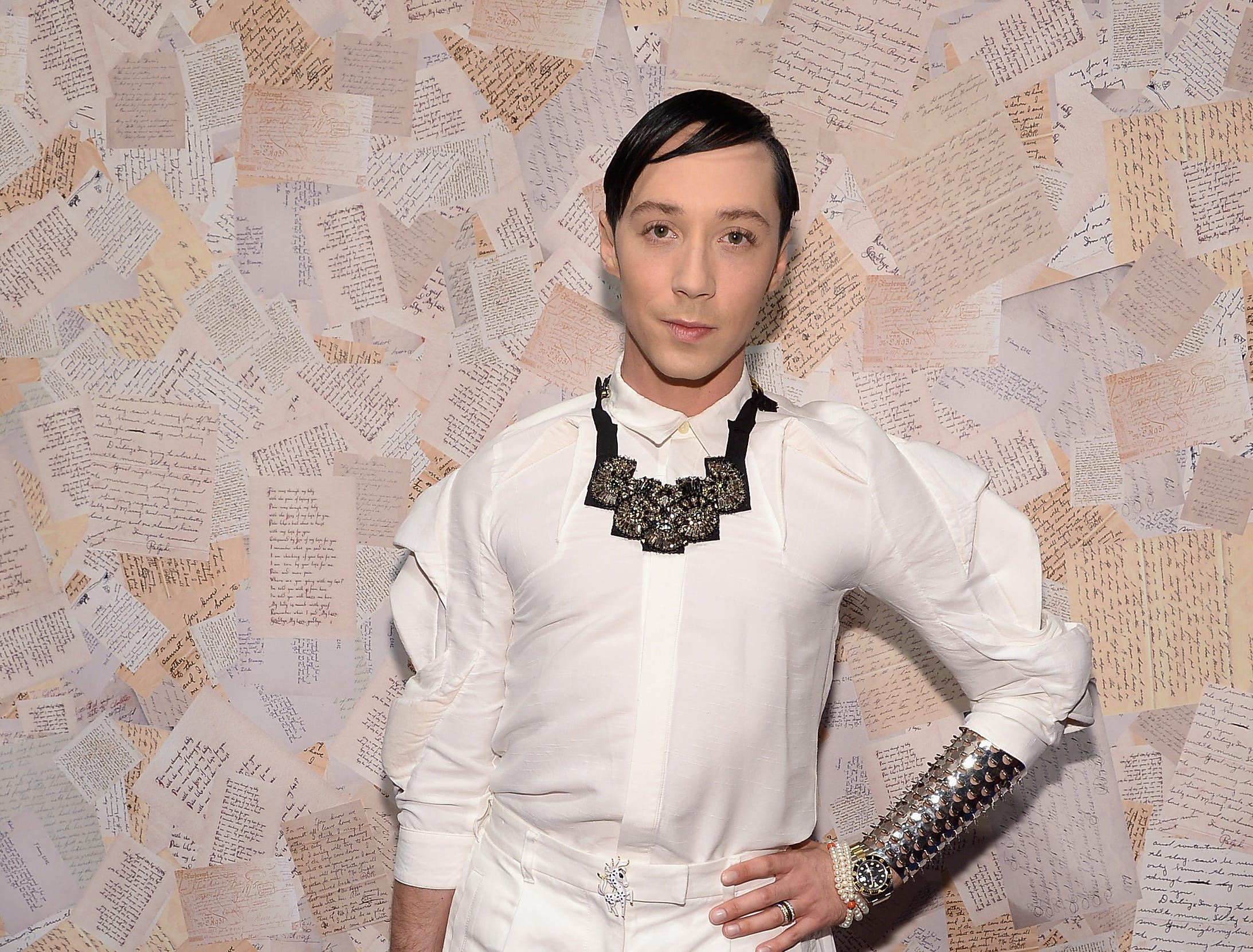 American figure skater Johnny Weir attends the alice + olivia by Stacey Bendet presentation during Mercedes-Benz Fashion Week Spring 2014 on September 9, 2013 in New York City.