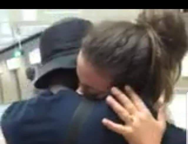 Katrina and Buba Jabbi are reunited at the airport in Dakar, Senegal in June 2018.
