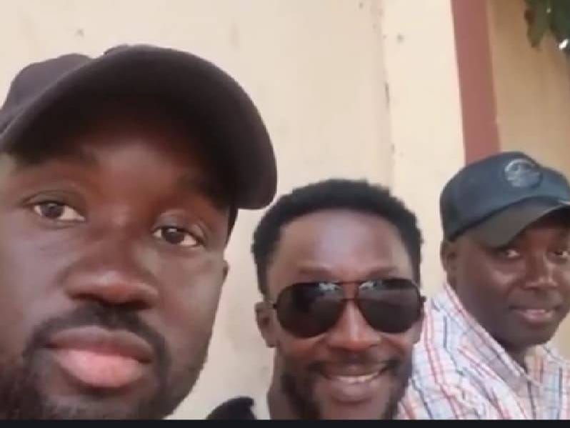 Buba Jabbi (middle) with Gibril Jarju (right) and another man in The Gambia.