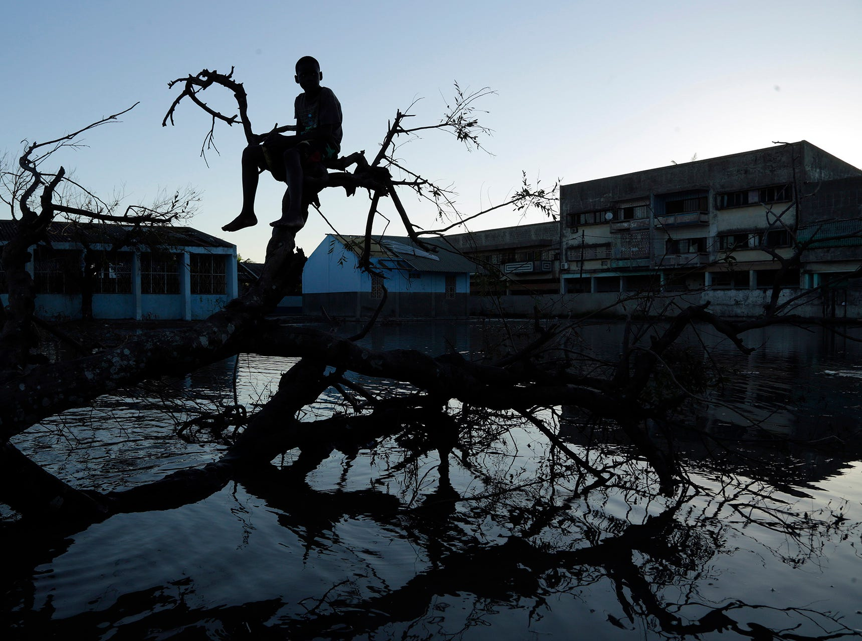 A young boy sits on a fallen tree outside a school in Beira, Mozambique, Monday, March 25, 2019. The United Nations is making an emergency appeal for $282 million for the next three months to help Mozambique start recovering from the devastation of Cyclone Idai.