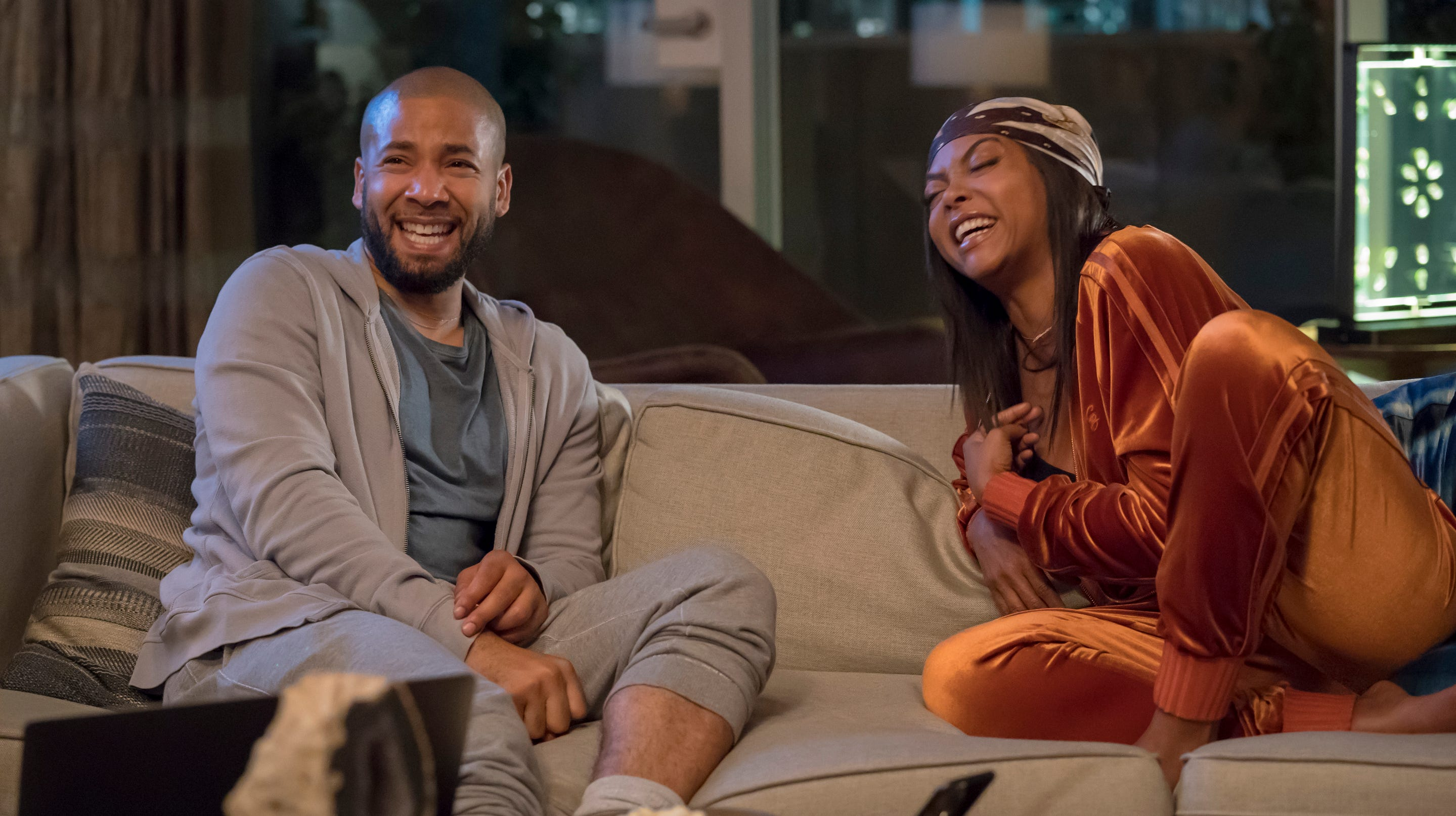 """This image released by Fox shows Jussie Smollett, left, and Taraji P. Henson in a scene from the """"The Depth of Grief"""" episode of """"Empire,"""" originally airing on Oct. 31, 2018. Smollett's co-starring role in """"Empire"""" may end up being the pinnacle of his career, industry observers and insiders said as the actor faces criminal charges that he faked a hate crime against himself. (Chuck Hodes/FOX via AP) ORG XMIT: NYET574"""