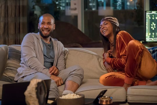 "This image released by Fox shows Jussie Smollett, left, and Taraji P. Henson in a scene from the ""The Depth of Grief"" episode of ""Empire,"" originally airing on Oct. 31, 2018. Smollett's co-starring role in ""Empire"" may end up being the pinnacle of his career, industry observers and insiders said as the actor faces criminal charges that he faked a hate crime against himself. (Chuck Hodes/FOX via AP) ORG XMIT: NYET574"