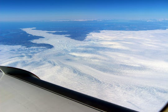 A view of the Jakobshavn Glacier in Greenland from a NASA research plane.