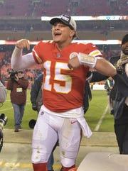 Kansas City Chiefs Quarterback Patrick Mahomes (15) celebrates the crowd after winning the Oakland Raiders at the Arrowhead Stadium.