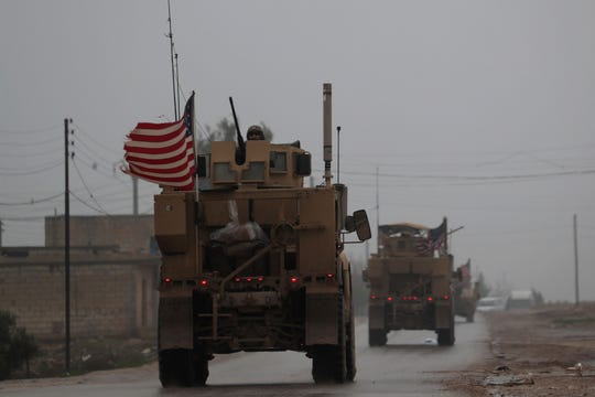 U.S. military vehicles in northern Syria in 2018.