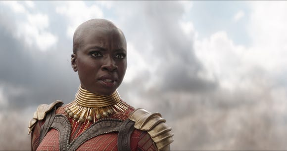 Okoye (Danai Gurira) is one of the main warriors, male or female, of Wakanda in the Marvel movies.