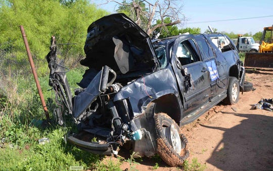 The car of storm chasers Kelley Williamson and Randall Yarnall was destroyed in the March 2017 wreck near  Spur, Texas. Both men and storm spotter Corbin Lee Jaeger were killed in the accident.
