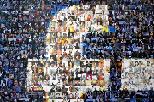 A collage of Facebook profile pictures in Forest City, North Carolina, in April 2012.