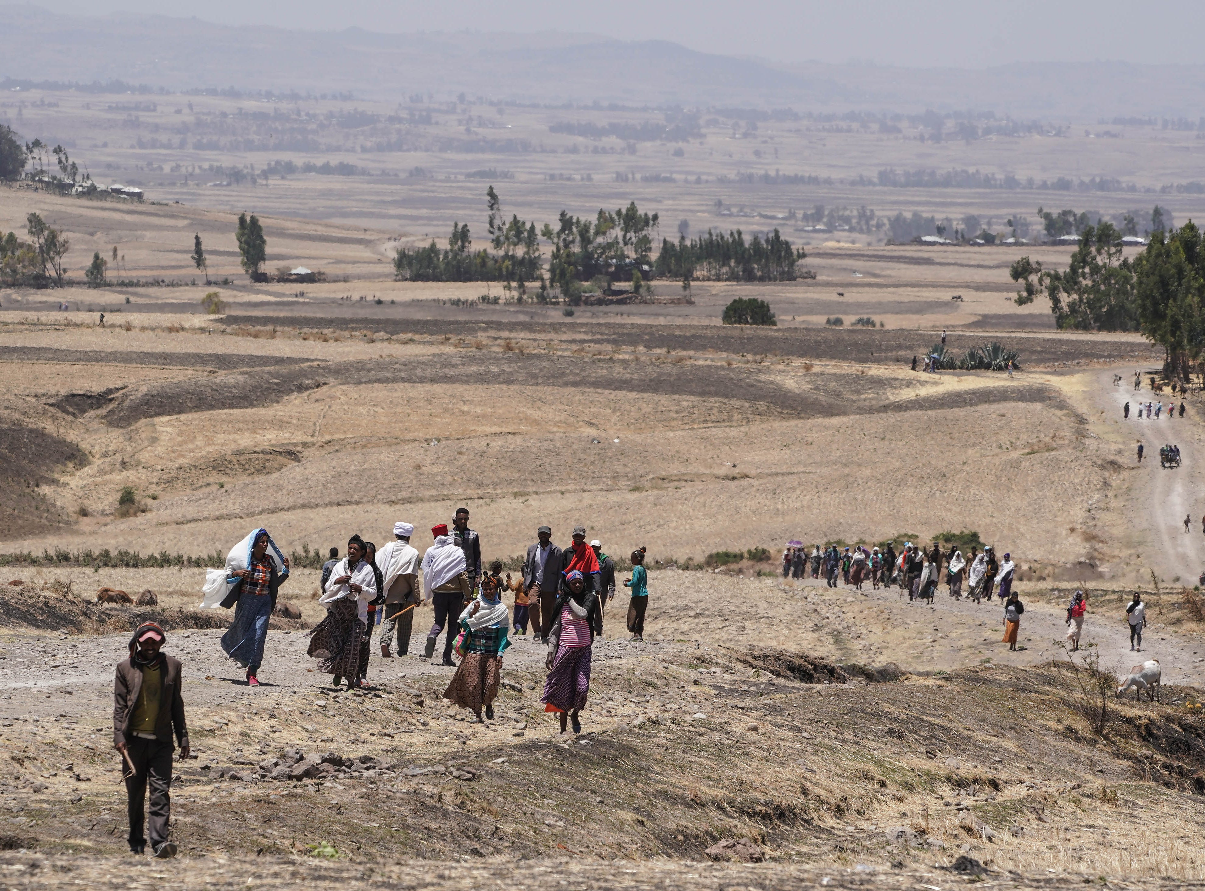 Local villagers from the area surrounding Ejere walk for miles to attend the Asrahhullet or Tulluferra ceremony on March 21, 2019 in Ejere, Ethiopia.  In the Ethiopian Orthodox church tradition the Asrahhullet or Tulluferra Ceremony marks the 12th day since the passing of a member of the community.  People from the various hamlets and villages around Ejere came together to pay respects to the 157 souls who perished in the crash of Ethiopian Airlines flight 302 which crashed on March 10, 2019.