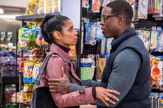 "Susan Kelechi Watson as Beth and Sterling K. Brown as Randall on ""This Is Us."""