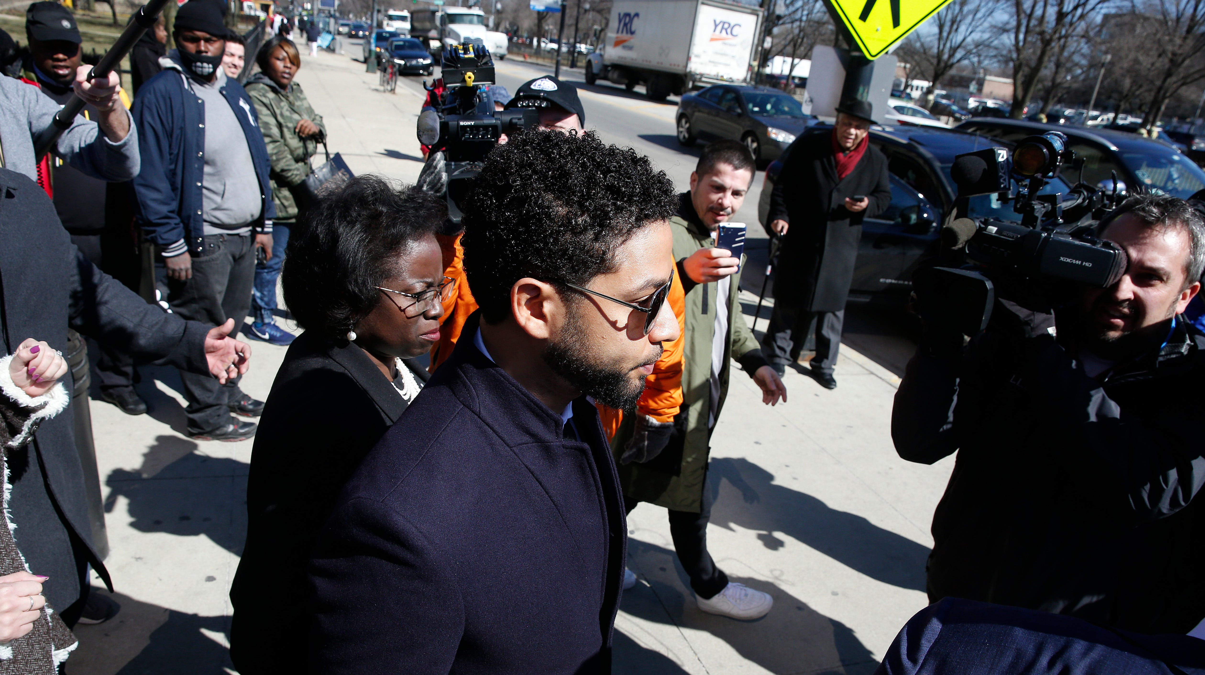Actor Jussie Smollett leaves after his court appearance at Leighton Courthouse on March 26, 2019 in Chicago, Illinois. This morning in court it was announced that all charges were dropped against the actor.