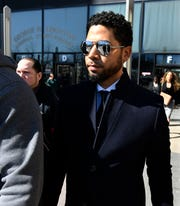 Actor Jussie Smollett leaves court on March 26, 2019, in Chicago.