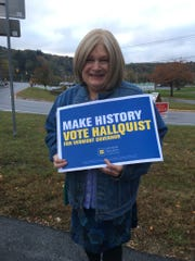 Brenda Churchill campaigns for Christine Hallquist, the first transgender major party nominee for governor in the U.S.