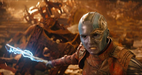 Nebula (Karen Gillan) has a score to settle with dear old dad Thanos.